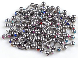 Wholesale Wholesale Ship Bells - Brand New 60 pcs lot Body Piercing Jewelry Stainless steel Crystal fashion jewelry Free Shipping[BB20*60]