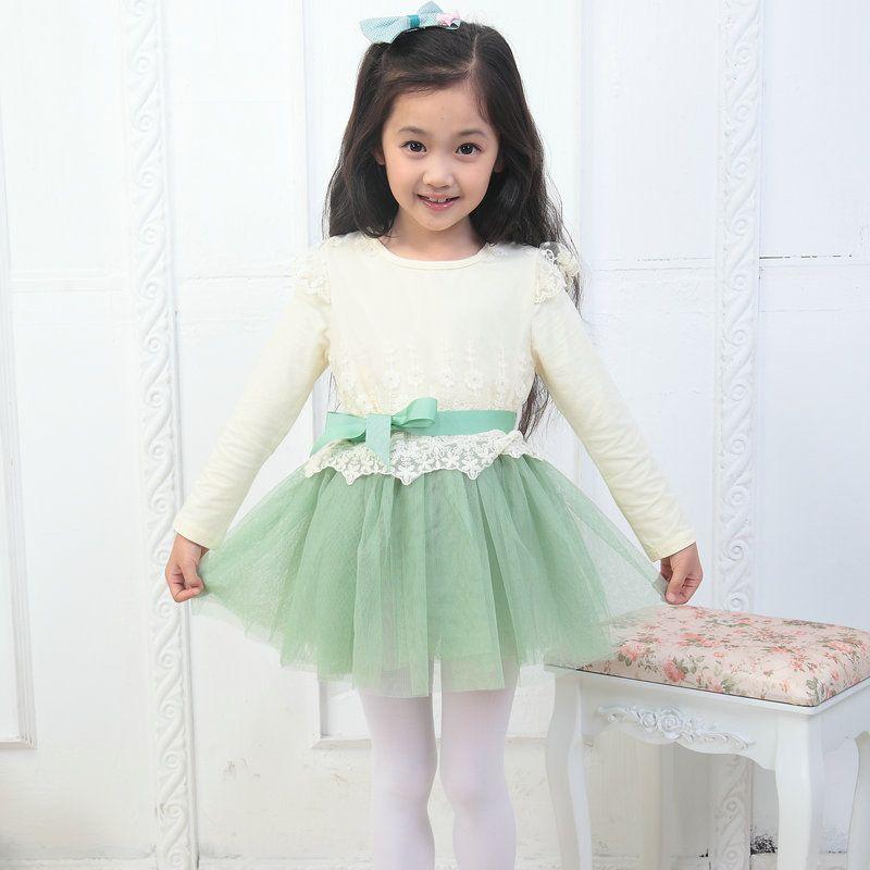Girls Dresses Princess lace long-sleeved dress 4T-9T Dress Children's Clothing