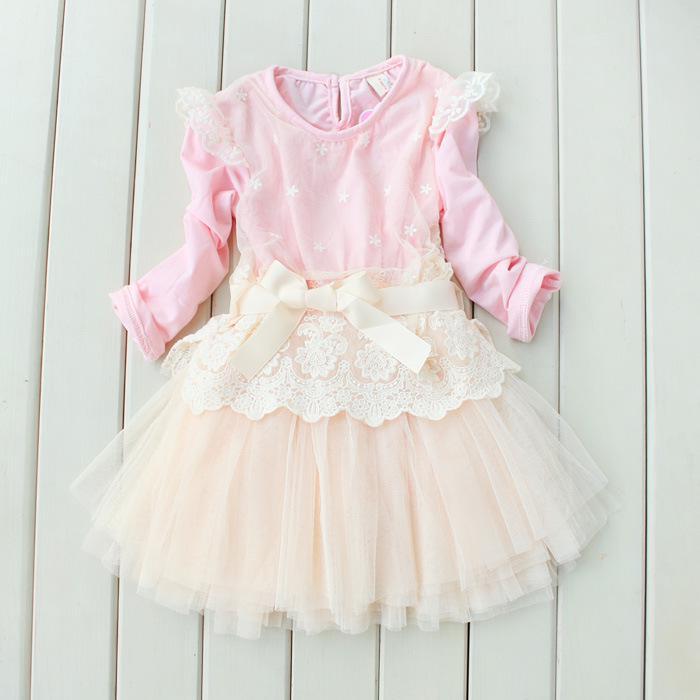 Mädchen Kleider Prinzessin Spitze langarm Kleid 4T-9T Kleid Kinderkleidung