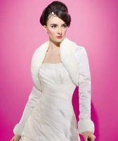 Wholesale Sleeve Satin Bridal Bolero Ivory - Free Shipping !!! White&Ivory Long Sleeve Ivory satin faux fur Winter Bridal Jacket Bolero Jakcet Bridal Accessories