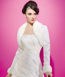Wholesale Satin Bridal Sleeves - Free Shipping !!! White&Ivory Long Sleeve Ivory satin faux fur Winter Bridal Jacket Bolero Jakcet Bridal Accessories