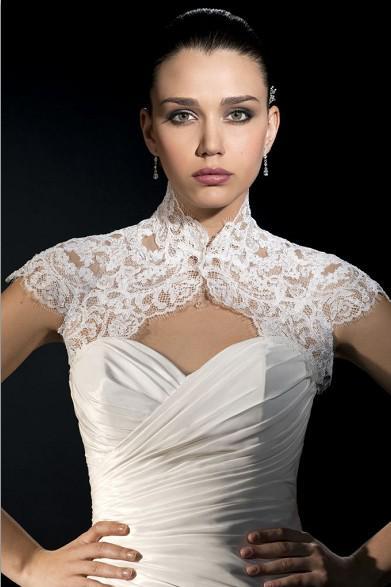 High Neck Caped Sleeve Lace Bridal Jackets Bolero Jacket Short Sleeve Lace Wedding Accessories Free Shipping