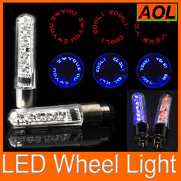 Wholesale Neon Tyre Wheel Valve - 9 patterns 7leds Bike Bicycle car Motorcycle tire Spoke Wheel Valve LED Flash alarm Light Neon LED Flash Tyre Lights