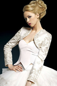 Free Shipping Ivory Long Sleeve Embroidery Pretty Bolero Jacket Bridal Jacket Long Sleeve Satin Bridal Accessories