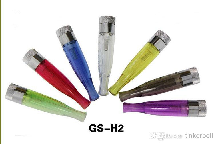 GS H2 Atomizer GS-H2 Detachable Clearomizer No Wick for Ego E-cigarettes in Retail Packaging Colorful DHL Free Shipping
