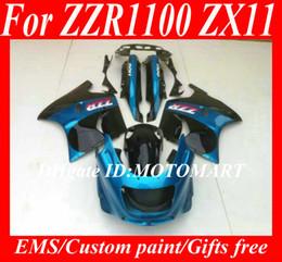 Kit de carenagens para KAWASAKI ZZR1100 93 94 95 96 97 98 99 00 01 ZX11 1993 2001 ZZR1100D Conjunto de carenagem azul + 7 compartimentos ZU31 de