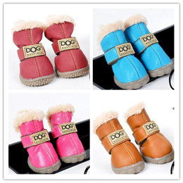 Dog Boots Free Shipping Canada - Free shipping PU leather pet dog puppy winter snow warm boot shoes mixed colors 10sets lot