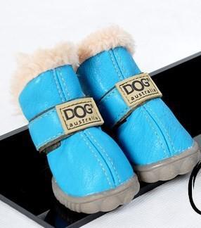 Envío gratis PU cuero mascota perro perrito invierno nieve zapatos de bota caliente colores mezclados /