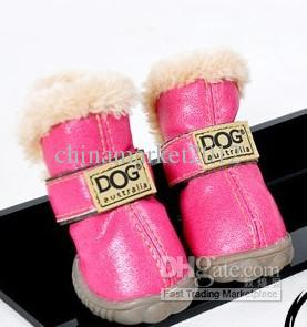 PU leather pet dog puppy winter snow warm boot shoes mixed colors