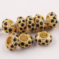 Wholesale Big Hole Crystal Golden Beads - 100pcs Black Rhinestone Golden Alloy Rondelle Spacer Big Hole Beads Fit European Bracelet , Crystal Charms For Making Jewelry 010311