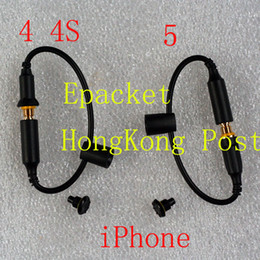 Wholesale Headphone Adapter Waterproof - 30pcs Waterproof Cover Case Headphone Adapter Plug Replacement Cable 3.5mm Female to Male Cables with Seal Cap for iPhone 5 4 4S Earphone