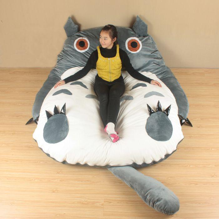 Cheap Wonderful Sleeping Bed Cute Totoro Kids Toys Double Cushion Sofa Bag Soft Sleep