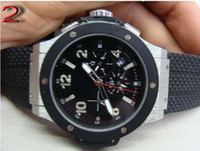 Wholesale Mens Big Case Watches - luxury dress big bang automatic silver case black dial mens watch HB303 rubber band men watches