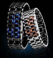 Wholesale Led Light Belt Buckle - New Arrival Luxury Fashion Novelty LED digital Lava style iron Red Blue light metal LED Watchs Free Shipping