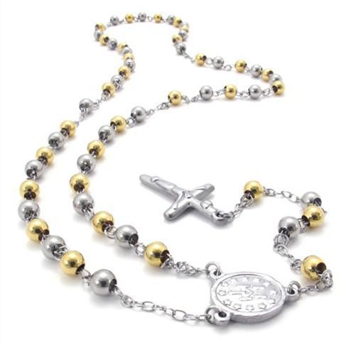 ¡Envio GRATIS! Cadena de Rosario de oro de plata pesada 316L collar de acero inoxidable bola de 8 mm cruz joyería para hombre REGALOS de Navidad de calidad superior