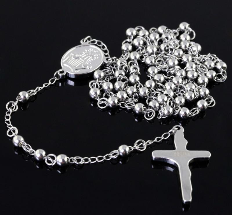 Rosary chain Stainless steel necklace 4mm ball silver cross for men & women jewelry free ship
