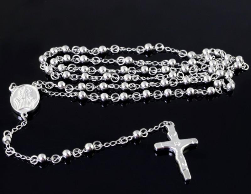 1 unids Rosario cadena de acero Inoxidable collar de 4 mm bola cruz de plata para hombres joyería de las mujeres envío gratis