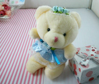Wholesale Marriage Bears - Hot Sale ! 50 Pcs Blue Marriage Yarn Teddy Bear Winnie The Pendant Wedding Small Gift Doll