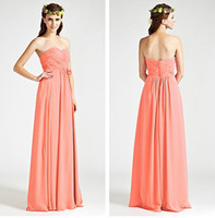 Wholesale Simple Summer Flower Girl Dresses - Simple Chiffon Long Bridesmaid Dresses for Wedding Party Girls Cheap Sexy Sweetheart Floor Length Pleated Flowers Cheap Formal Gowns 2017