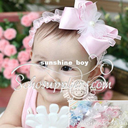 white lace baby headband 2019 - Girls Baby Infant Cute Headband Floral Bowtie Toddler Children Hairband Outfit Girls Headwear 10pcs Free Shipping TS-014