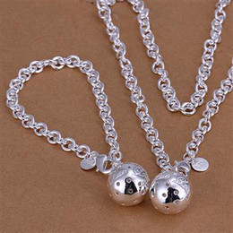 Wholesale 925 Necklace Bracelet Hollow Ball - Summer Styles Men's Jewelry 925 sterling silver Hollow ball necklaces bracelets Set s057 gift box bag free shipping