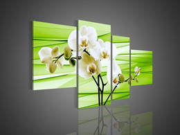 Wholesale Abstract Acrylic Flower Orchid - 4 Piece Wall Art No Frameless draw Modern Abstract Acrylic Flower Green Orchid Oil Painting On Canvas Knife Bars Acrylic Artwork