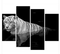 black and white gallery - Hand painted oil painting gallery huge black and white tiger canvas oil painting