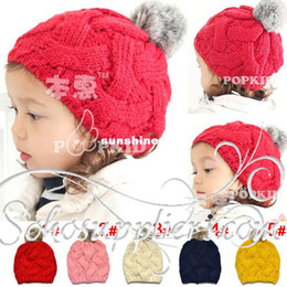 Discount beanie baby balls - Stylish Solid Color Baby Girl's Knitted HATS with Cute Balls Fashion Baby Winter Hats Beanies 10pcs Free Shipping MZD-03