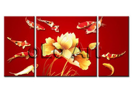 Wholesale Lotus Painting Wall Panels - Framed 3 Panels 100% Handpainted High End 3 Panel Wall Art Modern Fengshui Red Koi Fish Canvas Painting Lotus and Fish XD01189