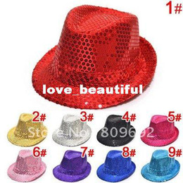 Chapeaux Supérieurs Enfants Fedora Pas Cher-paillettes mode Enfants Fedora Hat Bébé Printemps / Automne Top Hat Child Canvas Jazz Cap bébé Summer Infant Topee Cowboy Cap MZ-0383