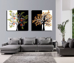 Wholesale Tree Life Abstract Hand - Framed 2 Panels 100% Hand Painted High End Tree Wall Panel Black and White Canvas Art Oil Painting Home Decor XD01195