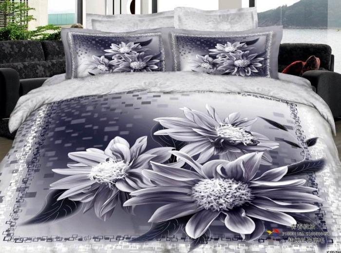 3d blue gray grey silver floral elegant comforter bedding set queen comforters sets duvet cover quilt bed linen sheet bedspread oil painting queen