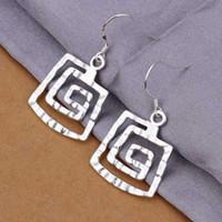 Wholesale Chandelier Thread - Hot Sell!Wholesale 925 silver earring,925 silver fashion jewelry Earrings,Square thread Earring SMTE344