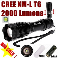 Wholesale Hot Modes - USA EU Hot Sel E007 CREE XM-L T6 2000Lumens 5-Mode Zoomable D Flashlight Torch T6 Lamp Light (3 *AAA   1 *18650 ) - Free Shipping