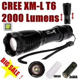 Wholesale Free Xm - USA EU Hot Sel E007 CREE XM-L T6 2000Lumens 5-Mode Zoomable D Flashlight Torch T6 Lamp Light (3 *AAA   1 *18650 ) - Free Shipping