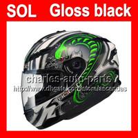 schwarze vollgesicht motorradhelme großhandel-2013 neue Ankunft für SOL COOL Glanz glänzend grün weiß schwarz Cobra Helm mit LED-Licht MOTO Vollgesichts Helm Motorradhelm Helme