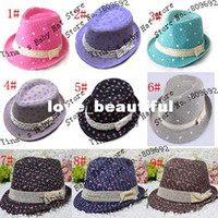 Wholesale Canvas Kids Fedora - Heart Printed Girls Canvas Fedora Hat Baby Spring Autumn Jazz Cap Girl's Bucket Hat Kids Top Hat Baby Sun Cap