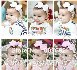 Discount white lace baby headband - Baby Girl Pearl Flower Headband Infant Lace Floral Hairband Toddler Baby Children Headwear 10pcs Free Shipping TS-0111