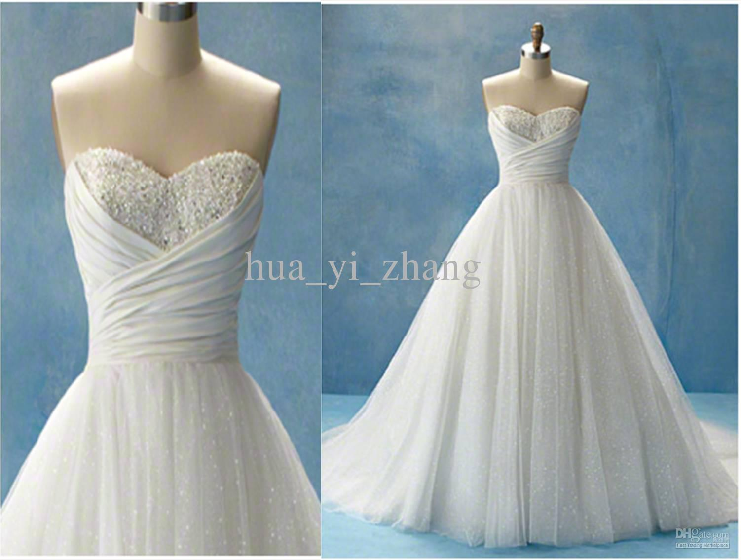 New Cinderella Beach Wedding Dresses Glitter Ball Gown Sweetheart ...