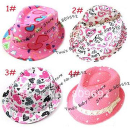 Chapeaux Supérieurs Enfants Fedora Pas Cher-Printemps Automne Toile Fedora Hat Girl Fashion Imprimé Coeur, toile Enfants Top Hat, Fedora Caps fille, 10pcs bébé Chapeau / lot LM-0057