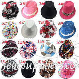 Wholesale Dicers Fedora Hats - Kids Small Fedora Trilby Dance Party Costume Hat Cap Kids Jazz Cap Baby Dicers Baby Cowboy Hat 10pcs lot Free Shipping LM-0067