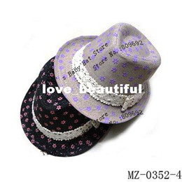 Wholesale crochet baby cowboy hats - Latest Design Kids Fedora Hat Baby Floral Fedoras Girls Spring Autumn Hats Girls Floral Top Hat Child Cowboy Cap Fedoras