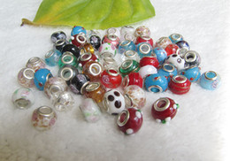 Wholesale 925 Silver Core - 100 Pcs Mixed 925 Silver Core Murano Glass Lampwork beads fit Charms bracelets + 2 leather bracelet gift