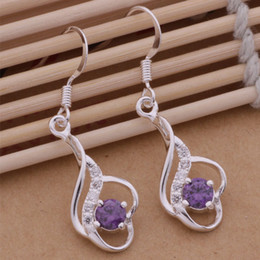 Wholesale New Indian Cute Girls - TOP SELL HOT NEW Beautiful fashion 925 sterling silver cute pretty Amethyst white CZ Austrian crystal stone Lady girl earring jewelry AE121