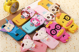 Wholesale Iphone 4s Toy Phone - Yello pink duck case for i phone 5 cases Free shipping Small yellow duck Baby Toys soft cartoon case for iphone 4 4s