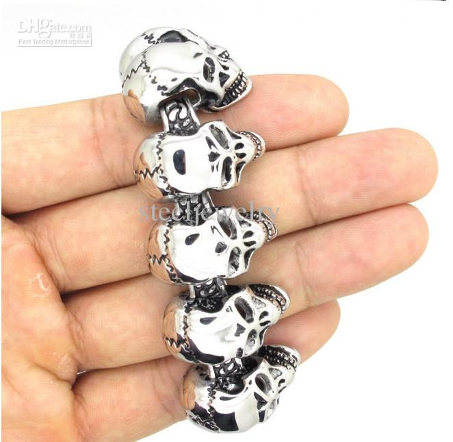 New Fashion Men's Super Cool Gothic 3D Skull Links Design Bracelet Smooth High Polished Stainless Steel Bangle Punk Jewelry