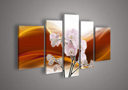 Wholesale Abstract Acrylic Flower Orchid - 5 Panel Wall Art No Frameless draw Modern Abstract Acrylic Flower Red Orange Orchid Oil Painting On Canvas Hand Painted Pure han