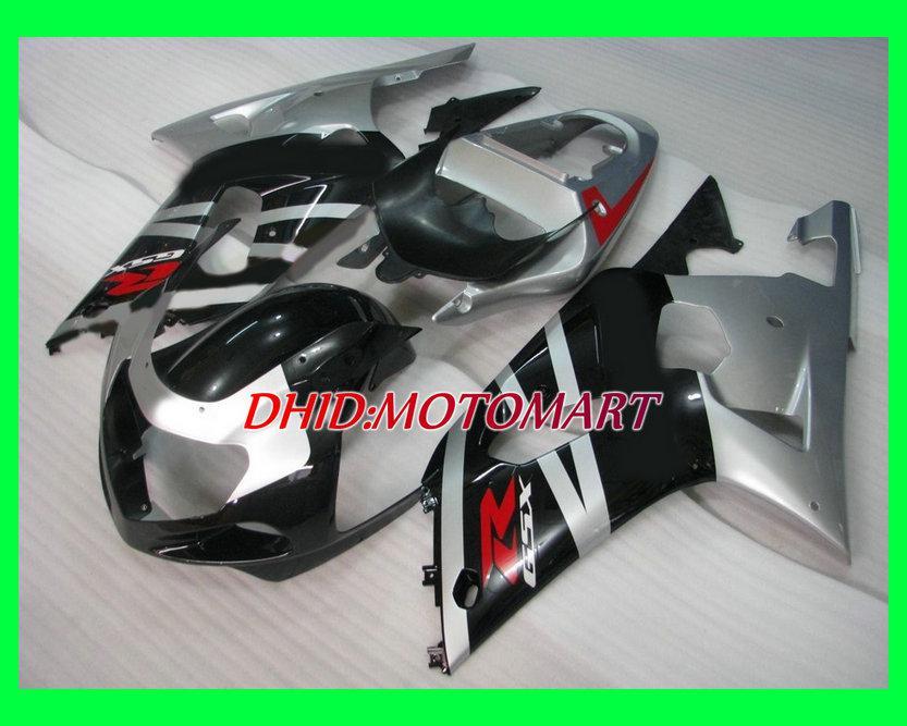 Fairing kit for SUZUKI GSXR600 750 GSXR 600 GSXR 750 K1 01 02 03 2001 2002 2003 silver black Fairings set SX42