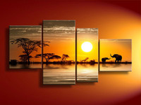 Wholesale Large African Art Wall Pictures - Framed 4 Panel 100% Handmade High End Large Professional African Art Sunset Landscape Painting Elephant Beach Wall Decor-XD01273