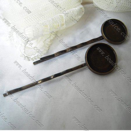 Beadsnice pin para el cabello con bandeja de cabujón accesorios para el cabello al por mayor baratos para hacer joyas base de latón diámetro interior 18 mm de largo 63 mm ID10800